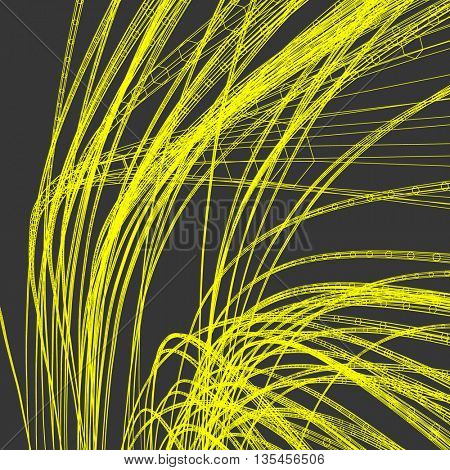 Connection Structure. Wireframe Vector Illustration. 3D Abstract Background. Optical Fiber.