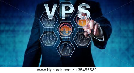Corporate service provider is pressing VPS on virtual interactive touch screen interface. Business metaphor. Web hosting and computer network security concept for server virtualization.