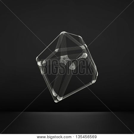 Wireframe Object with Lines and Dots. Abstract 3D Connection Structure. Geometric Shape for Design. Lattice Geometric Element, Emblem and Icon. Connection Grid. Molecular Grid. 3D Technology Style.