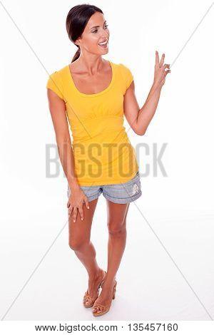Happy Smiling Brunette Gesturing Peace Sign