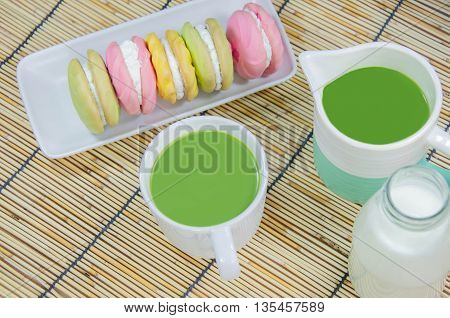 Green Tea Milk Matcha Japanese Tea with milk and Butter creamy Macaroon hot drink