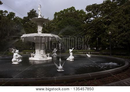 The flowing waters of the beautiful Forsyth Park fountain in historic Savannah, Georgia