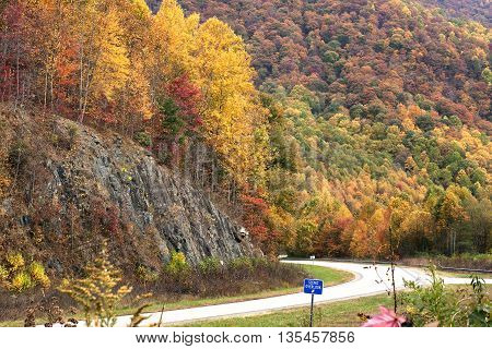 Scenic rest stop on Highway 64 between Franklin and Murphy, North Carolina during a beautiful, colorful, fall foliage season.
