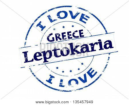 Rubber stamp with text i love Leptokaria Greece inside vector illustration