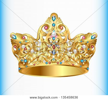 Illustration royal golden crown with an ornament and precious st