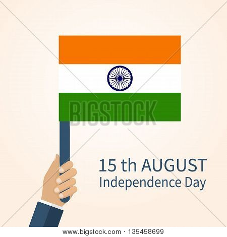 Indian Independence Day August 15. Vector Illustration flat design style. Man holding national flag of India.