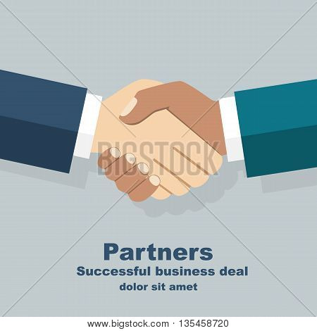 Handshake isolated. Symbol of a successful interracial business deal. Multiracial handshake between two businessmen. Friendship of Peoples. Vector illustration flat design.