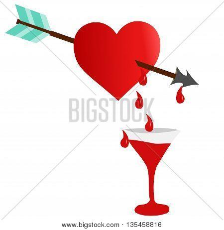 heart and arrow , red bleeding heart