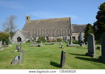 An exterior view of an ancient church in Aberdour
