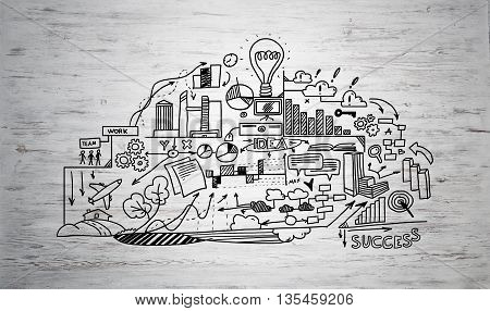Effective business planning concept on wooden surface background