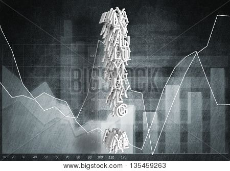 Big exclamation mark on graphs and diagrams background, 3d rendering