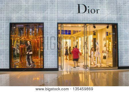 LAS VEGAS - MAY 21 : Exterior of a Dior store in Las Vegas strip on May 21 2016. Dior is famous French luxury brand existing since 1946.