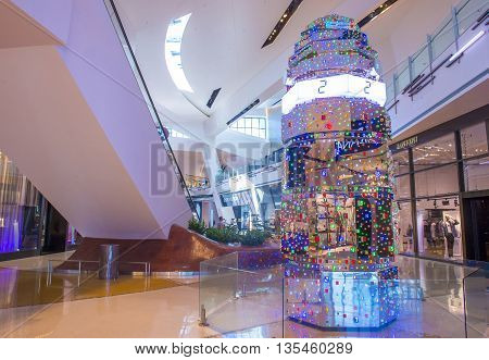 LAS VEGAS - May 21 : The Tatsuo Miyajima HOTO Sculpture display at the Crystals mall in Las Vegas on May 21 2016. The sculpture is 18 feet tall and constructed out of 3827 LEDs