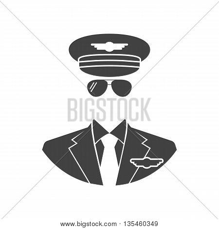 Pilot Icon. Vector illustration of flat design style. Black silhouette avatars pilot on a white background isolated.