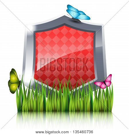 Shield with flying butterflies by the grass. Nature protection concept. Vector illustration.