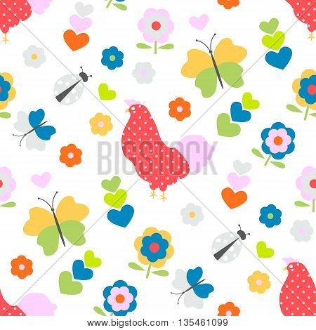 Seamless pattern with flower, chicken, butterflies and ladybug