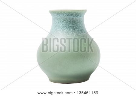 Ceramic blue turquoise dyed classic form vase for flowers and decor on isolated background