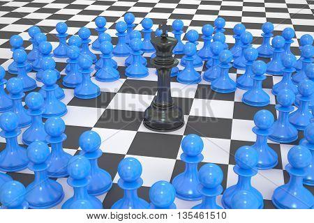 chess winner and leader concept. 3D rendering