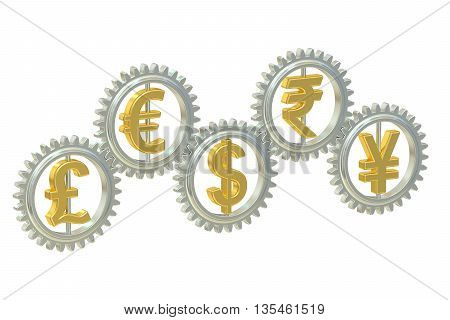 currencies concept 3D rendering isolated on white background