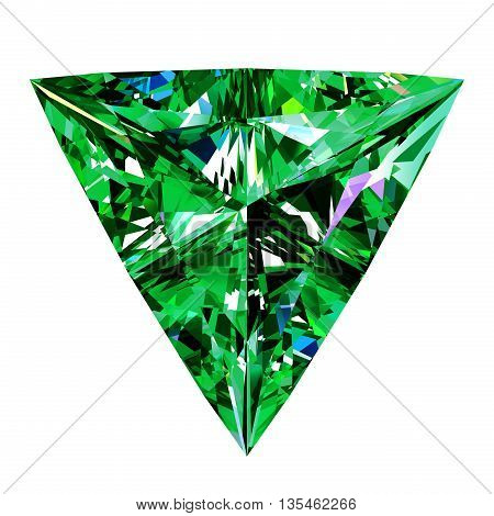 Emerald Triangle Over White Background. 3D Illustration.