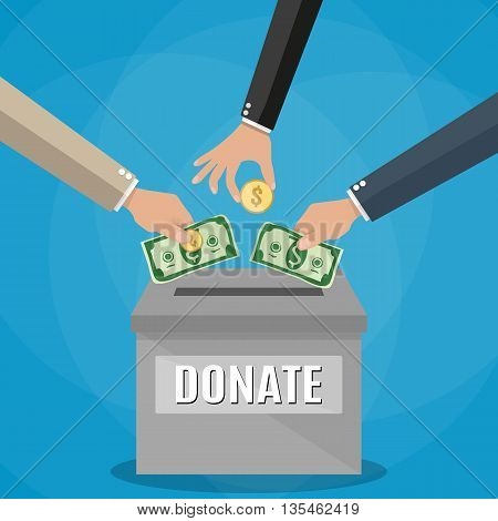 Human hands putting gold coin and dollar cash in silver donation box on blue backgound. vector illustration in flat style