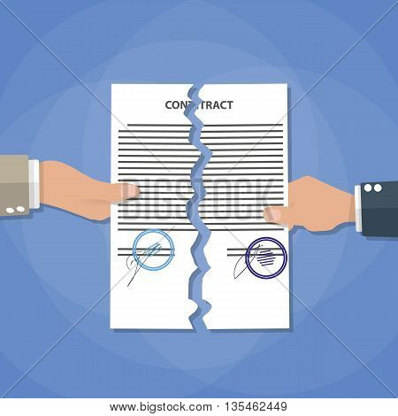 Cartoon businessman hands tearing apart contract. Contract termination concept. vector illustration in flat design on blue background