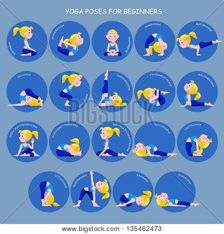 Cartoon blonde girl in Yoga poses with titles for beginners isolated on blue background. Yoga Poses round icons with captions. Vector illustration.