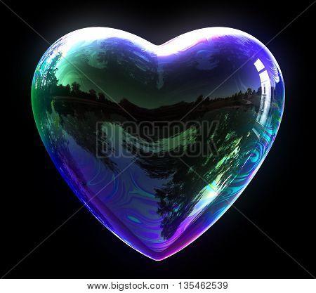 Concept Of Blue Soap Bubble Heart. 3D Illustration.
