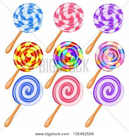 Colorful candy lollipops set of icons - the vortex of lollipops