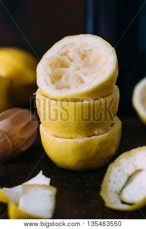 Fresh lemons and juicer. selective focus. summer concept