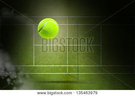 Tennis ball with a syringe against focus of tennis field