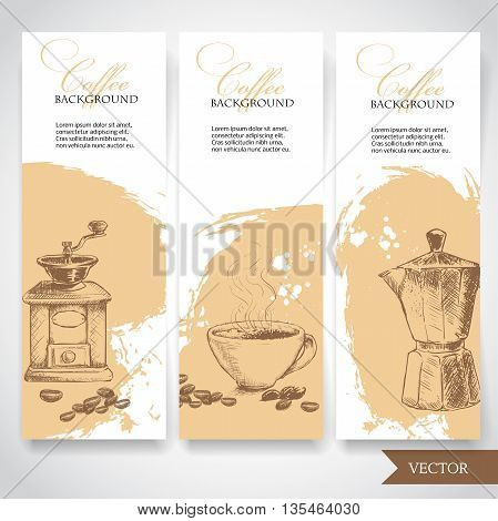 Set of coffee banners. Vintage hand drawn design elements. Vintage coffee machine cup of coffee and geyser coffee pot.