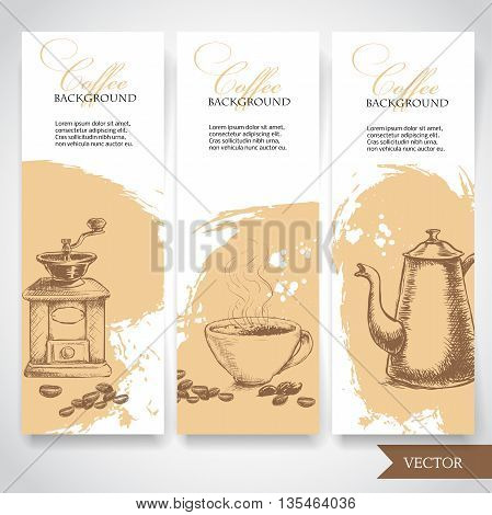 Set of coffee banners. Vintage hand drawn design elements. Vintage coffee machine cup of coffee and coffee pot.