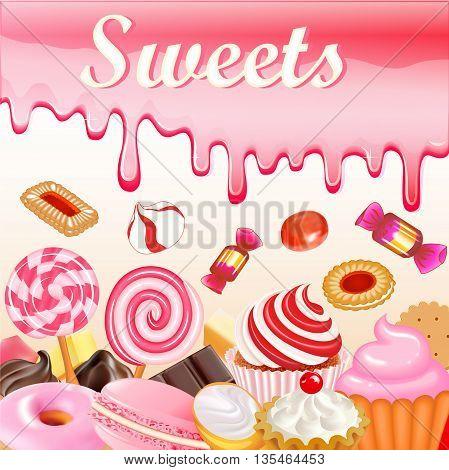 Sweet dessert food frame background glaze stains. Pink candies,