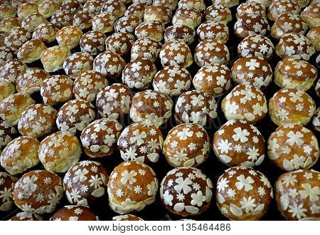 Traditional baked and decorated Easter cakes ready for implementation