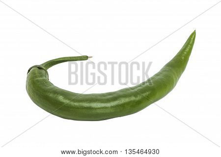 Fresh green hot glossy crooked pepper lying on white isolated background
