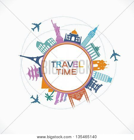 Travel and tourism background. Colorful template with icons and tourism landmarks.