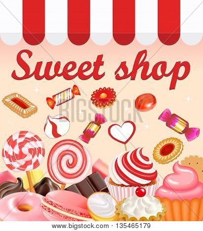 Background with sweet desserts, food, candy, donuts, lollipops,