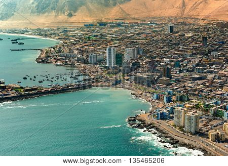 Aerial view of downtown Iquique in the Atacama Desert Chile