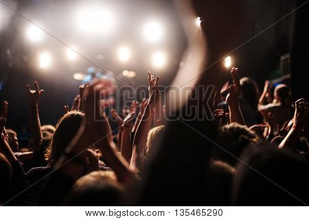 Crowd raising their hands on a music festival.