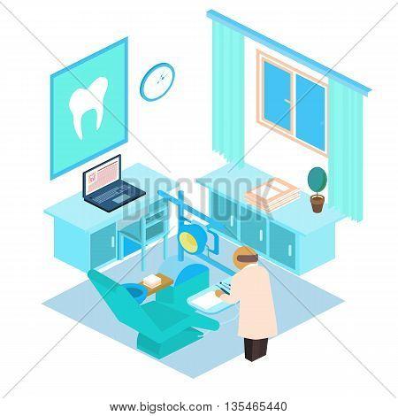 Vector isometric illustration dental clinic. Stamotology concept