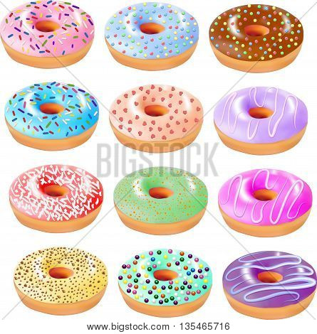 illustration set of colored donuts with icing and different grit