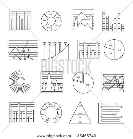 Graphs in linear style icon set with isolated financial elements for business presentation vector illustration