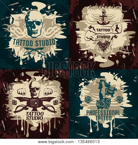 Tattoo studio designs with business emblems on brown and dark turquoise grunge backgrounds isolated vector illustration