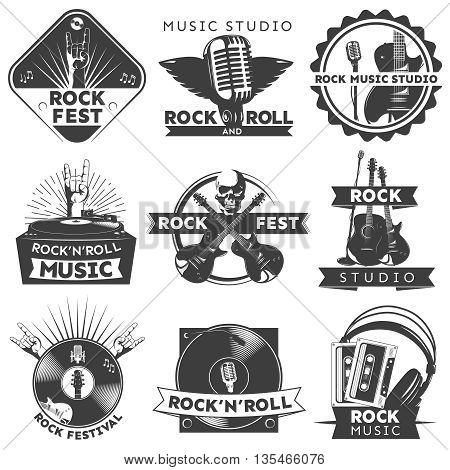 Black isolated music label set with descriptions of rock fest music studio rock studio vector illustration