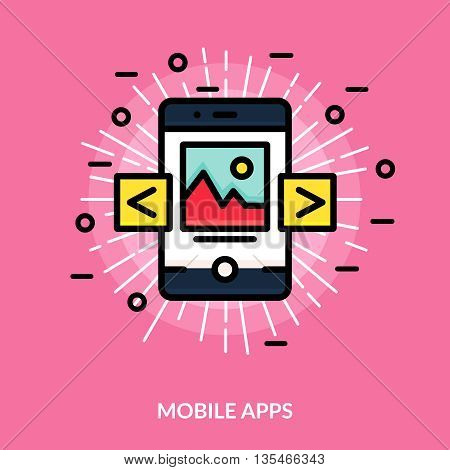 Colored and isolated mobile application flat icon in white rays on pink background vector illustration