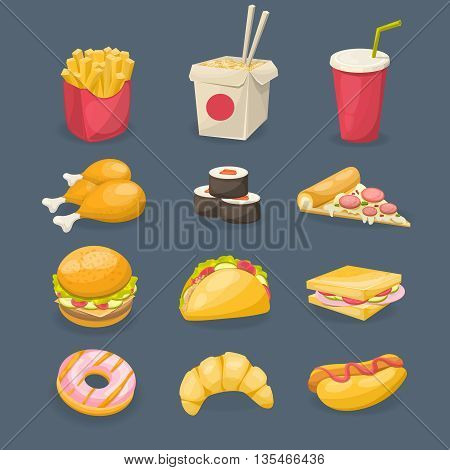 Fast food decorative icons with sushi fried potato sandwich croissant chicken on grey background isolated vector illustration