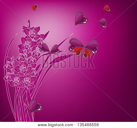 illustration with magenta orchids and hearts symbols
