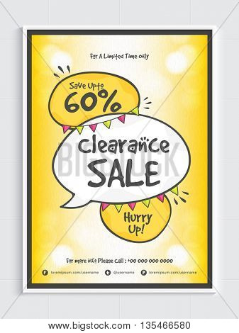 Clearance Sale Poster, Save Up to 60%, Sale Background, Vector illustration.