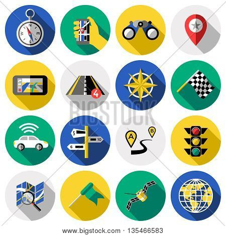 Flat round navigation colored and isolated icon set car accessories for navigation vector illustration